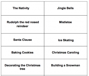 ESL Christmas Charades game for teens and adults